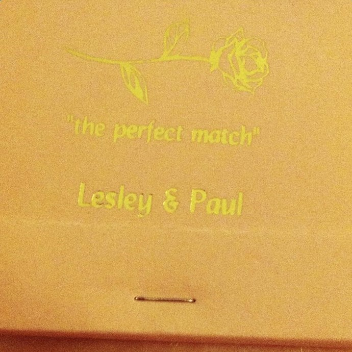 Personalised matchstick holders served as a wedding favour at TV writers Lesley Arfin and Paul Rust's wedding last year