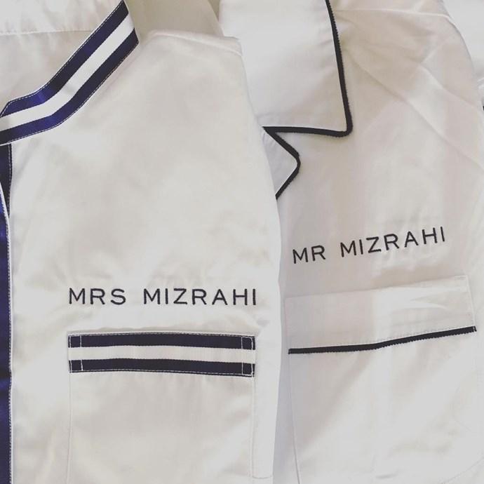 Namesake embroidered pyjamas belonging to stylist Jamie Schneider and husband Nico Mizrahi (Instagram/@jamiemizrahi)