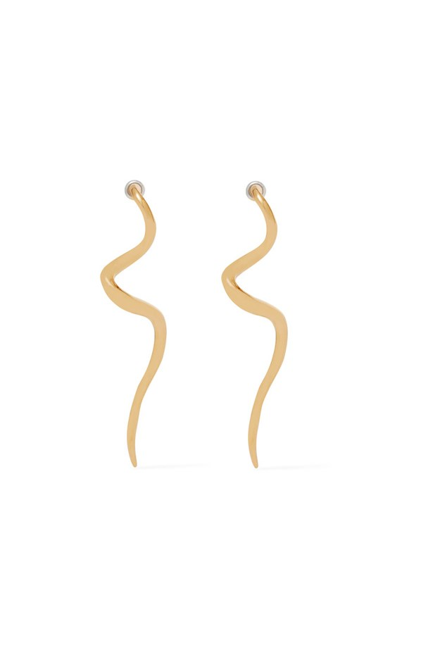 "Earrings, $66, <a href=""https://www.net-a-porter.com/au/en/product/744730/kenneth_jay_lane/gold-plated-earrings"">Kenneth Jay Lane at net-a-porter.com</a>."