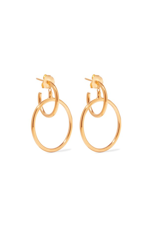 "Earrings, $419, <a href=""https://www.net-a-porter.com/au/en/product/815887/maria_black/norma-medi-gold-plated-hoop-earrings"">Maria Black at net-a-porter.com</a>."