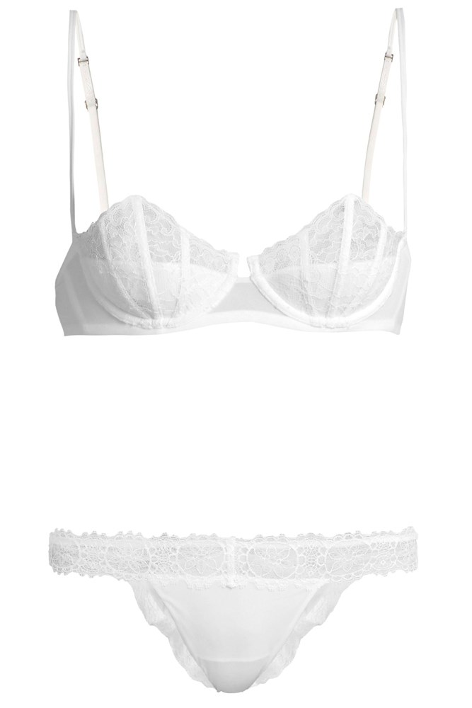 "<a href=""http://www.matchesfashion.com/au/products/La-Perla-Charisma-lace-underwired-bra-1063371"">Bra, $287</a>; and <a href=""http://www.matchesfashion.com/au/products/La-Perla-Charisma-lace-Brazilian-briefs-1063372"">Briefs, $147</a>, La Perla at matchesfashion.com"