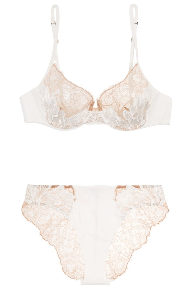 "<a href=""https://www.net-a-porter.com/au/en/product/707403/La_Perla/talisman-embroidered-chantilly-lace-and-stretch-satin-underwired-bra"">Bra, $777</a>; and <a href=""https://www.net-a-porter.com/au/en/product/707402/la_perla/talisman-embroidered-chantilly-lace-and-stretch-satin-briefs"">Briefs, $630</a>, La Perla at net-a-porter.com"