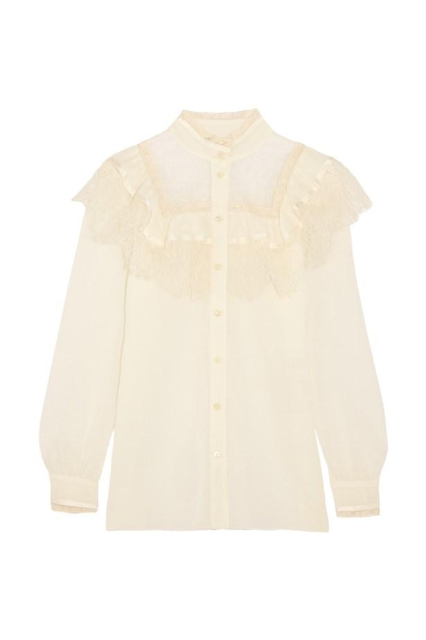 """Blouse, $2,525, <a href=""""https://www.net-a-porter.com/au/en/product/736864/saint_laurent/ruffled-lace-paneled-cotton-and-silk-blend-blouse"""">Saint Laurent at net-a-porter.com</a>."""