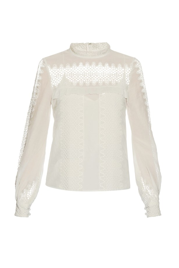 "Blouse, $311, <a href=""http://www.matchesfashion.com/au/products/Self-portrait-Lace-panelled-cotton-and-silk-blend-top-1054096"">Self-Portrait at matchesfashion.com</a>."
