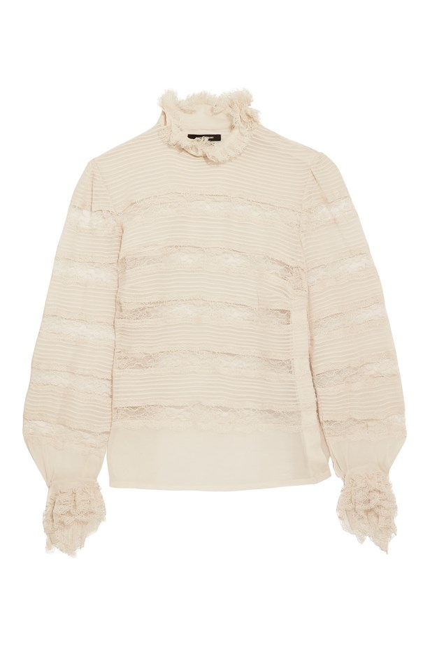 "Blouse, $1,770, <a href=""https://www.net-a-porter.com/au/en/product/755516/isabel_marant/sondra-pintucked-silk-georgette-and-lace-turtleneck-blouse"">Isabel Marant at net-a-porter.com</a>."