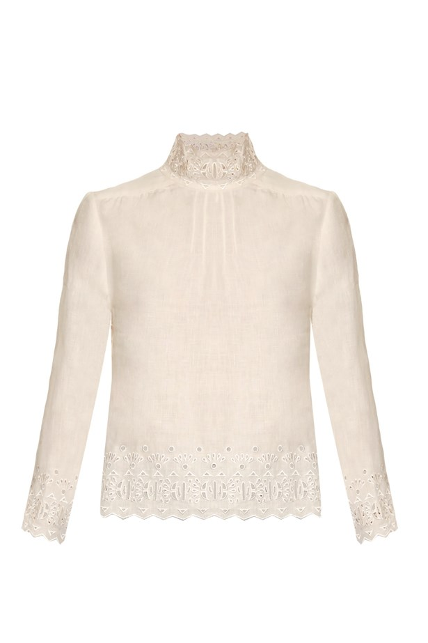 "Blouse, $684, <a href=""http://www.matchesfashion.com/au/products/Bliss-and-Mischief-High-neck-linen-blouse-1050119"">Bliss and Mischief at matchesfashion.com</a>."