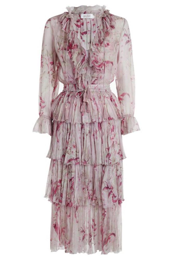 "<a href=""https://www.zimmermannwear.com/new-arrivals/winsome-tier-dress-mink-sunbleach-floral.html"">Dress, $1250, Zimmermann</a>"