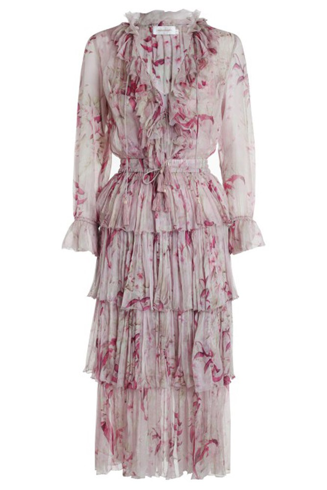 "<a href=""https://www.zimmermannwear.com/new-arrivals/winsome-tier-dress-mink-sunbleach-floral.html"">Dress, $1250, Zimmermann</a>"