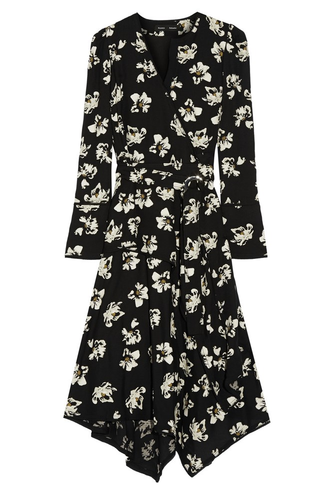 "<a href=""https://www.net-a-porter.com/au/en/product/711662/proenza_schouler/wrap-effect-printed-crepe-midi-dress"">Dress, $2037, Proenza Schouler at net-a-porter.com</a>"