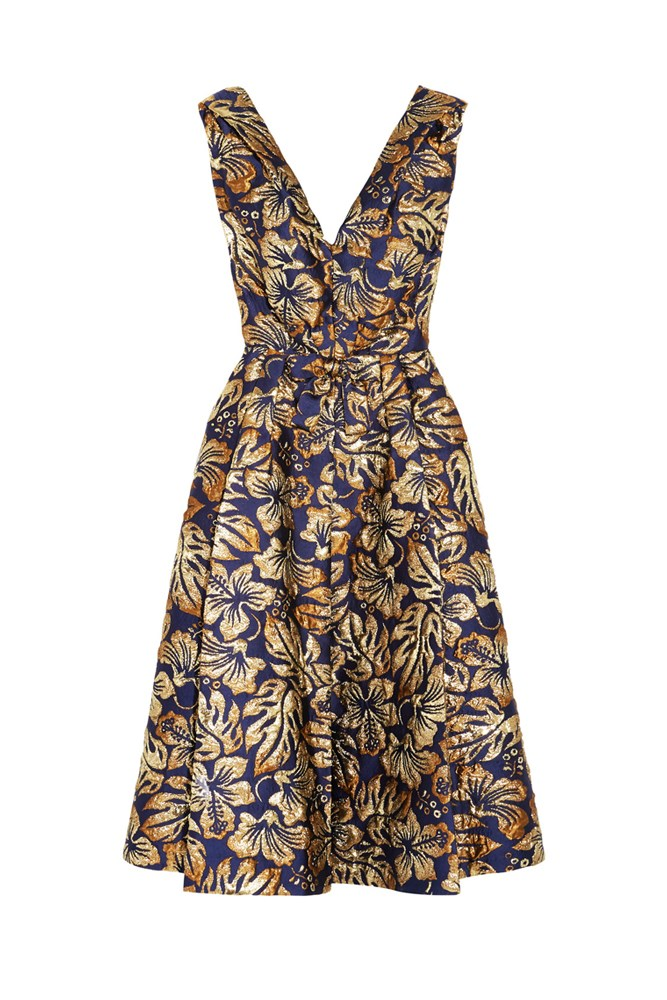 "<a href=""https://www.net-a-porter.com/au/en/product/760383/prada/floral-jacquard-midi-dress"">Dress, $3960, Prada at net-a-porter.com</a>"