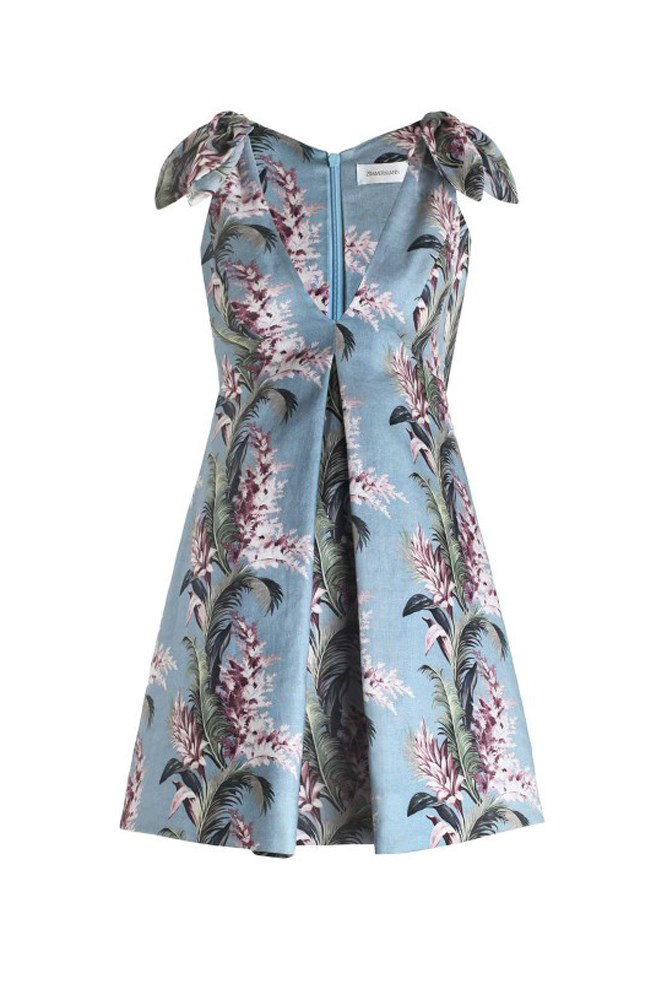 "<a href=""https://www.zimmermannwear.com/new-arrivals/winsome-trapeze-dress-sky-sunbleach-floral.html"">Dress, $595, Zimmermann</a>"