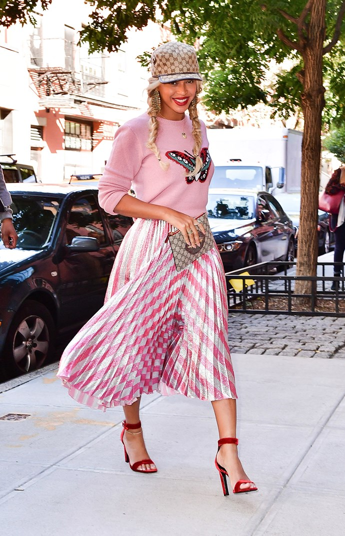 beyonce sighting new york wearing gucci