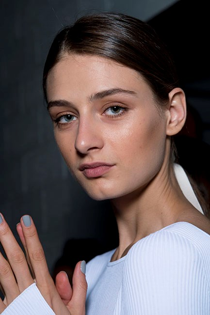 """There's something beautifully simple about the solo shades we saw at <strong>Tibi</strong>. Especially for spring racing when you want your manicure to complement your ensemble, not compete against it. Opt for a chalky blue-grey and keep your nails short. Try <a href=""""https://au.sallyhansen.com/nails/nail-color/color/complete-salon-manicure"""">Sally Hansen Complete Salon Manicure in In Full Blue-M</a>, $14.95."""