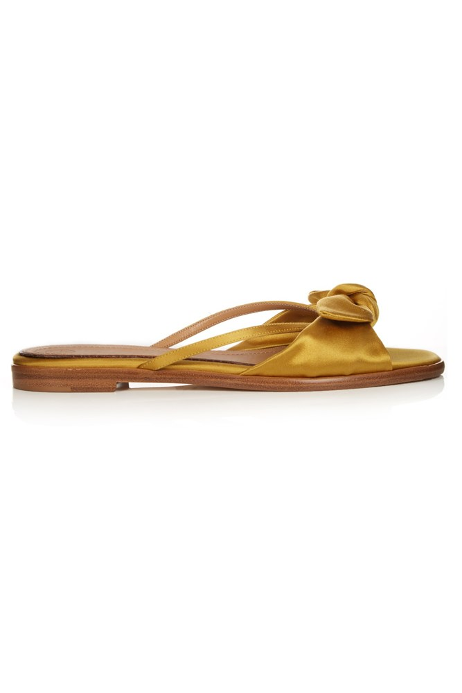 "<a href=""http://www.matchesfashion.com/au/products/The-Row-April-satin-slides-1057818"">Slides, $887, The Row at matchesfashion.com</a>"