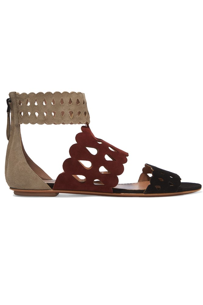"<a href=""https://www.theoutnet.com/en-AU/Shop/Product/Alaia/Laser-cut-suede-sandals/719011"">Sandals, $460, Alaïa at theoutnet.com</a>"