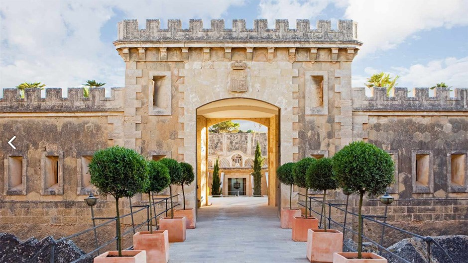 """<p> <a href=""""http://www.caprocat.com/en/index/another-world-luxury-hotel-mallorca.html"""">Hotel Cap Rocat, Mallorca</a><p> <p> A former military base that has been converted to a luxury hotel, Hotel Cap Rocat overlooks the gulf of Palma so views are absolutely breathtaking if you do decide to tie the knot clifftop. The sandstone castle holds some pretty serious luxury rooms which we are sure can accommodate quite a few of your guests."""
