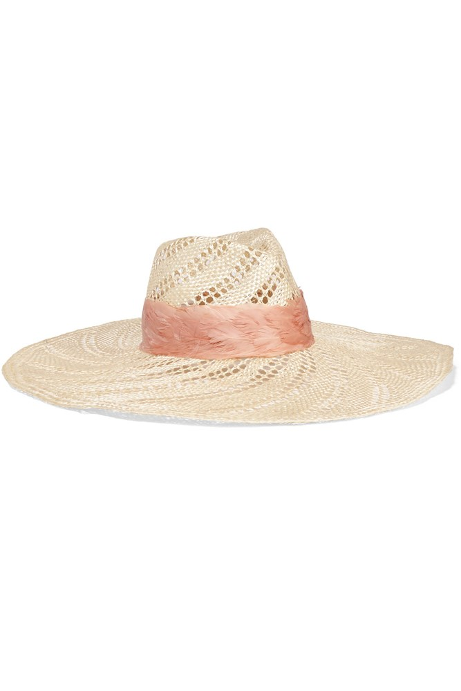"""<a href=""""https://www.net-a-porter.com/au/en/product/713675/eugenia_kim/cassidy-feather-trimmed-woven-straw-hat"""">Hat, $442, Eugenia Kim at net-a-porter.com</a>"""