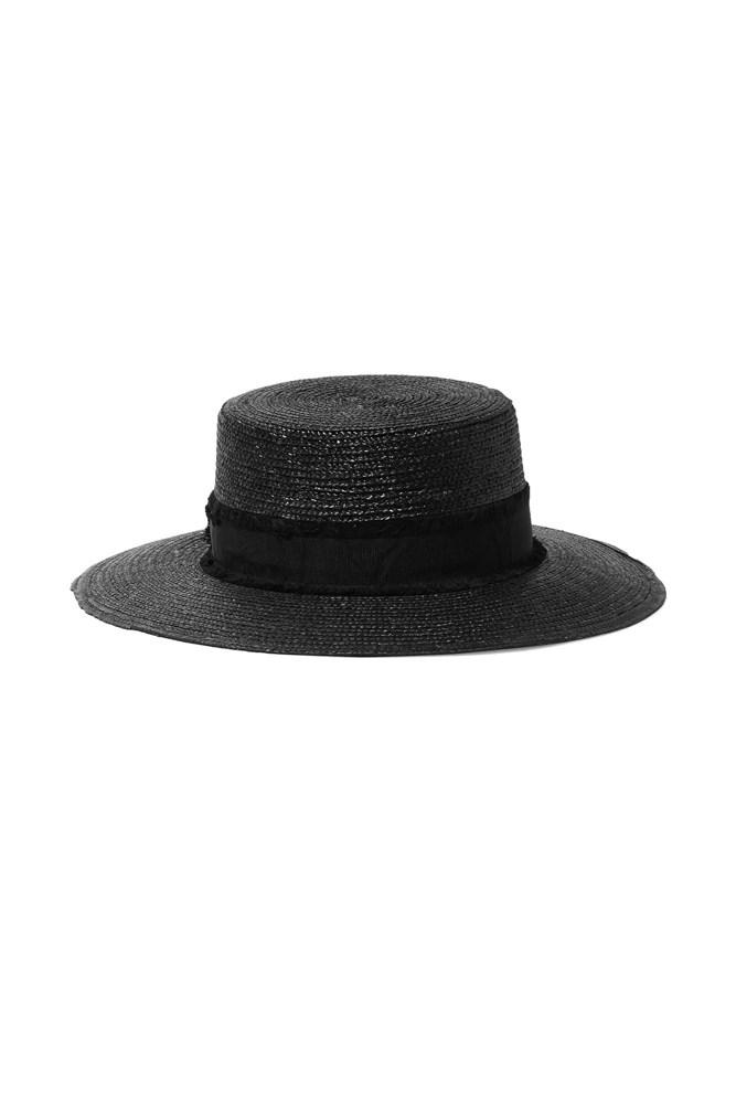 "<a href=""https://www.net-a-porter.com/au/en/product/713675/eugenia_kim/cassidy-feather-trimmed-woven-straw-hat"">Hat, $230, Rag & Bone at net-a-porter.com</a>"