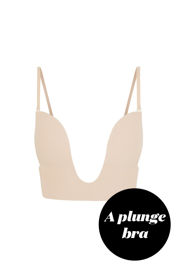 """<p> Try an equally as plunging bra. Bras like this one are usually seamless and provide a subtle lift, without giving the appearance of lines.<p> <p> <a href=""""https://www.net-a-porter.com/au/en/product/458586/fashion_forms/seamless-u-plunge-bra"""">Bra, $46, Fashion Forms at net-a-porter.com.</a>"""