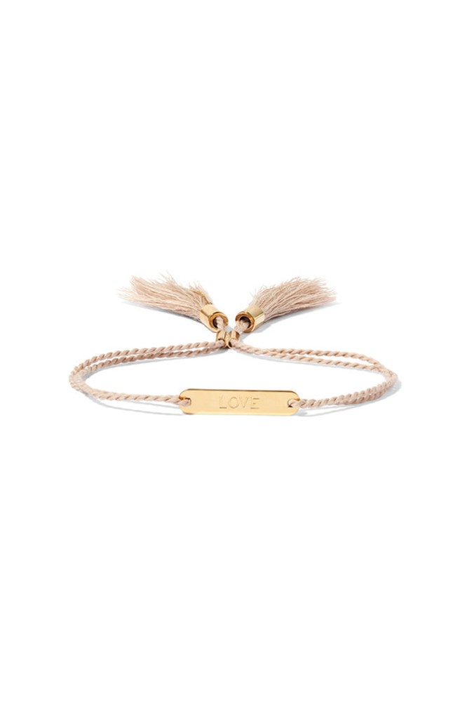 """<strong>A chic bracelet</strong><br> This Chloé version will be a daily reminder of how much she's adored. <br><br> <a href=""""https://www.net-a-porter.com/au/en/product/755238/chloe/messages-gold-tone-cotton-bracelet"""">Bracelet, $630, Chloé at net-a-porter.com</a>"""