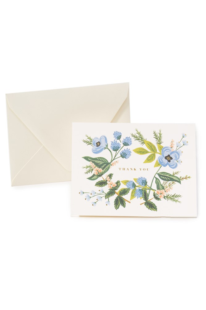 """And don't forget...<br> Thank-you cards.<br><br> <a href=""""https://www.shopbop.com/thank-you-bouquet-cards-rifle/vp/v=1/1565098112.htm?folderID=2534374302197440&fm=other-viewall&os=false&colorId=14370"""">Cards, $21, Rifle Paper Co at shopbop.com</a>"""