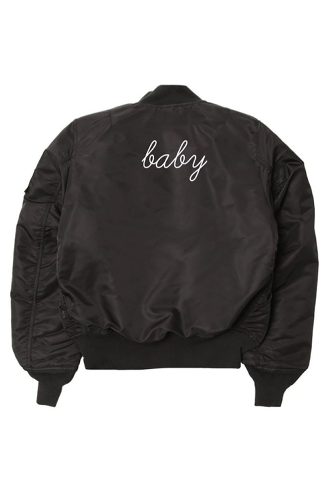 """<strong>Personalised jacket</strong><br> These super-cool bombers can be customised with anything you like, so get creative. <br><br> <a href=""""http://www.danielleguiziony.com/women/dg-custom-personalized-bomber-jacket"""">Jacket, approx. $277, Danielle Giuzio NY</a>"""