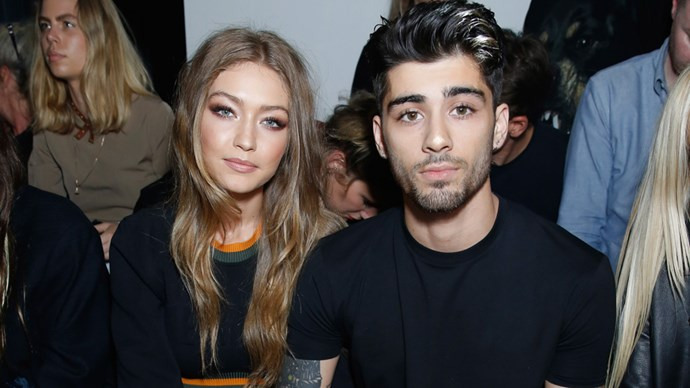 gigi hadid and zayn malik front row at versus versace at london fashion week