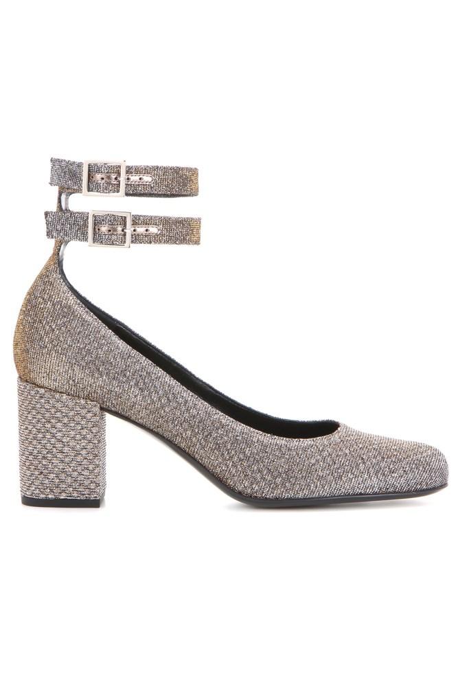 """<a href=""""http://www.mytheresa.com/en-au/lame-block-heel-pumps-627118.html"""">Pumps, $990, Saint Laurent at mytheresa.com</a>"""