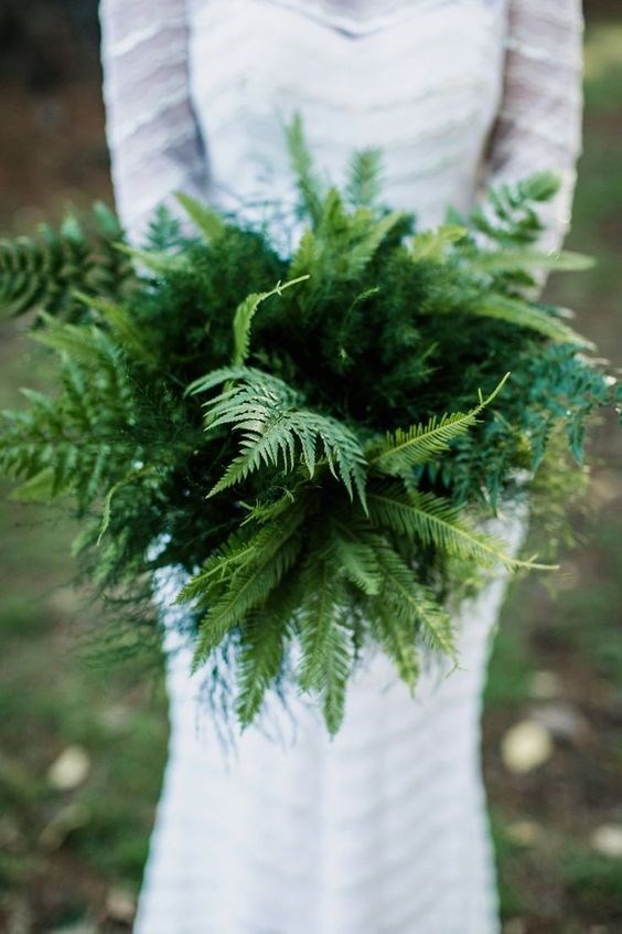 "<p> <em>Fern</em><p> <p> If your wedding is near a forest, a fern bouquet is a sweet and unique option.<p> <p> Image via <a href=""https://au.pinterest.com/pin/409686897337297720/"">Pinterest</a>."