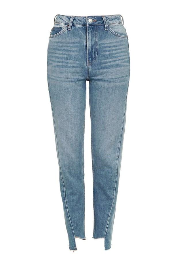 "Jeans, $72, <a href=""http://www.topshop.com/en/tsuk/product/moto-seam-detail-mom-jeans-5764531?bi=0&ps=20&Ntt=stepped"">Topshop</a>."