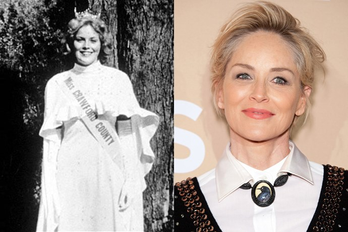 <strong>Sharon Stone</strong><br> In university, Stone was titled Miss Crawford County, Pennsylvania, and a judge reportedly told her to move to New York to become a model.