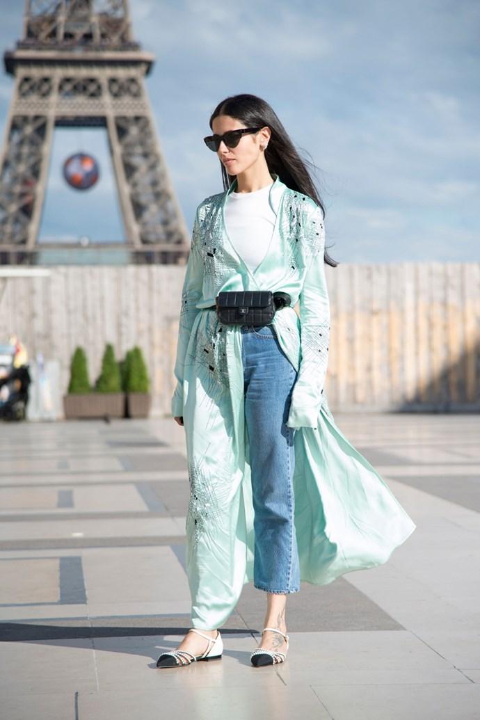 Gilda Ambrosio in an Attico robe at Paris Fashion Week.
