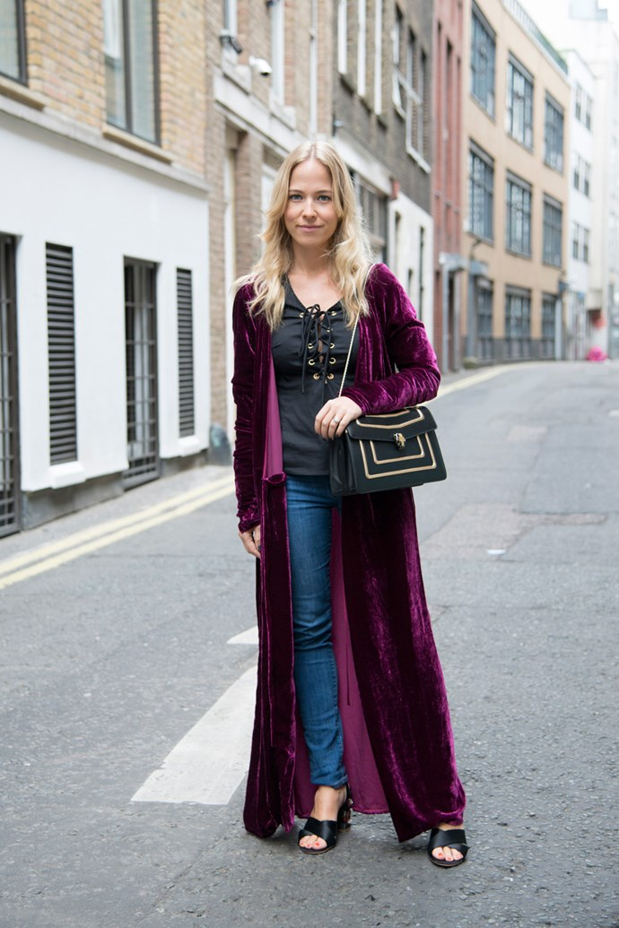 Diana Bell-Heather in a velvet Attico robe.