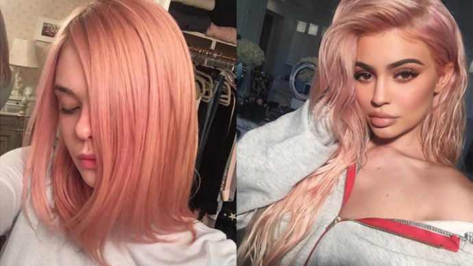 <p> ROSE GOLD<p> <p> A chic take on pink hair, rose gold is a subtler, dustier shade of rosey pink, just ask Elle Fanning and Kylie Jenner, two celebs who took rose gold for a test run this year.<p>