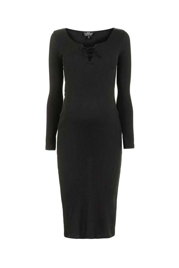 "<p> Take a leaf out of Kim Kardashian and Chrissy Teigen's maternity style book and invest in a body-con dress with a sultry lace-up detail. Layer it under a jacket with sneakers or take it up with heels.<P> <p> <a href=""http://www.topshop.com/en/tsuk/product/clothing-427/maternity-456/maternity-lace-up-midi-bodycon-dress-5953090?bi=0&ps=20"">Dress, $35, Topshop.</a>"