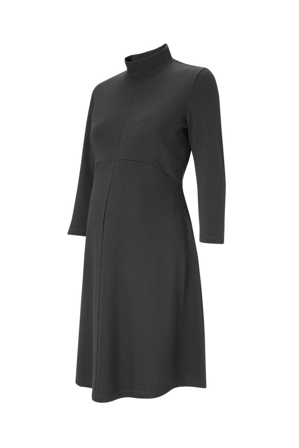 "<p> Formal but not stuffy, this '60s high-necked dress will take you from the office to lunch to your Lamaze class.<p> <p> <a href=""https://www.isabellaoliver.com/us/shop/maternity-clothes/maternity-dresses/kennett-maternity-dress-caviar-black.htm#fullscreen-image-2"">Dress, $243, Isabella Oliver.</a>"
