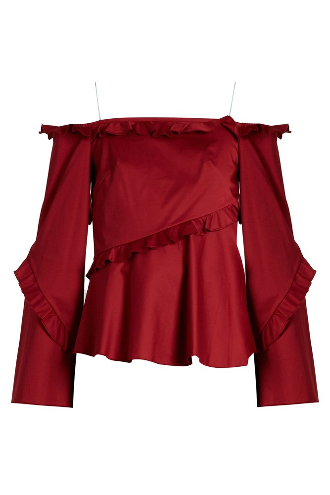 "<a href=""http://www.matchesfashion.com/au/products/Anna-October-Cold-shoulder-long-sleeved-ruffle-top-1067629"">Top, $495, Anna October at matchesfashion.com</a>"