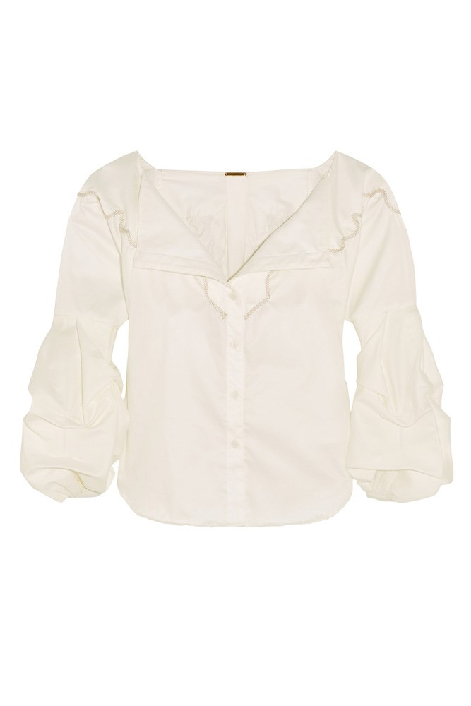 "<a href=""https://www.net-a-porter.com/au/en/product/762172/Johanna_Ortiz/anna-beth-embroidered-cotton-twill-shirt"">Shirt, $760, Johanna Ortiz at net-a-porter.com</a>"
