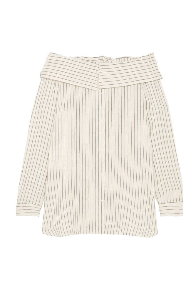 "<a href=""https://www.net-a-porter.com/au/en/product/751727/Tibi/off-the-shoulder-striped-woven-top"">Top, $514, Tibi at net-a-porter.com</a>"
