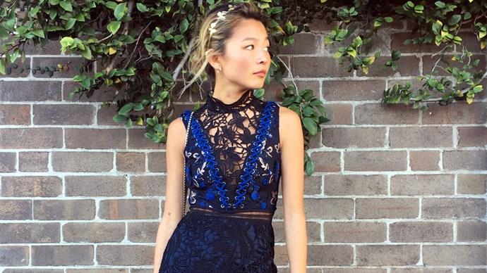 yan yan chan in a self-portrait dress from asos
