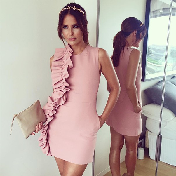 "<p>Jodi Anasta wore this pretty pink MSGM dress when she participated in a Fashions on the Field panel. <p><a href=""https://www.instagram.com/p/BLSC4tCBKqP/"">Instagram.com/jodigordon</a>"