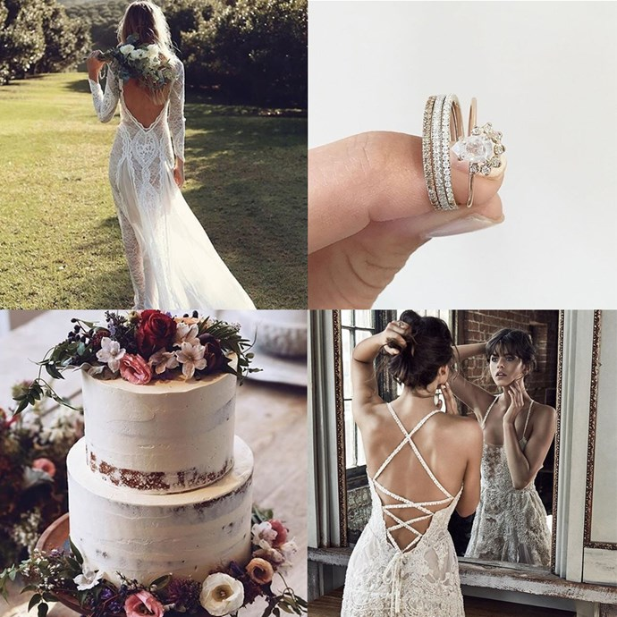 """<a href=""""https://www.instagram.com/grace_loves_lace/"""">@grace_loves_lace</a><br> Designed and made locally, bridal label Grace Loves Lace boasts the most-pinned wedding dress on Pinterest, the """"Hollie"""" gown."""
