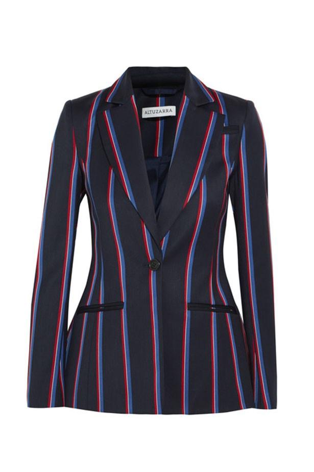 "<a href=""https://www.net-a-porter.com/au/en/product/709587/altuzarra/acacia-striped-wool-and-cotton-blend-blazer"">Blazer, $1985, Altuzarra at net-a-porter.com.</a>"