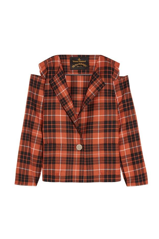 "<a href=""https://www.net-a-porter.com/au/en/product/736772/vivienne_westwood_anglomania/radio-tartan-wool-twill-blazer"">Blazer, $673, Vivienne Westwood Anglomania at net-a-porter.com.</a>"