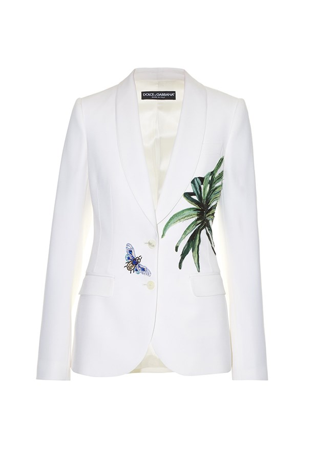 "<a href=""http://www.matchesfashion.com/products/Dolce-%26-Gabbana-Kenzia-leaf-appliqu%C3%A9-single-breasted-jacket-1058807"">Blazer, $4510, Dolce & Gabbana at matchesfashion.com.</a>"