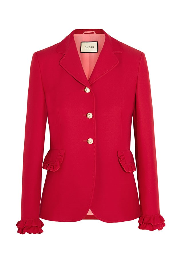 "<a href=""https://www.net-a-porter.com/au/en/product/714593/gucci/ruffled-wool-and-silk-blend-jacket"">Blazer, $2100, Gucci at net-a-porter.com.</a>"