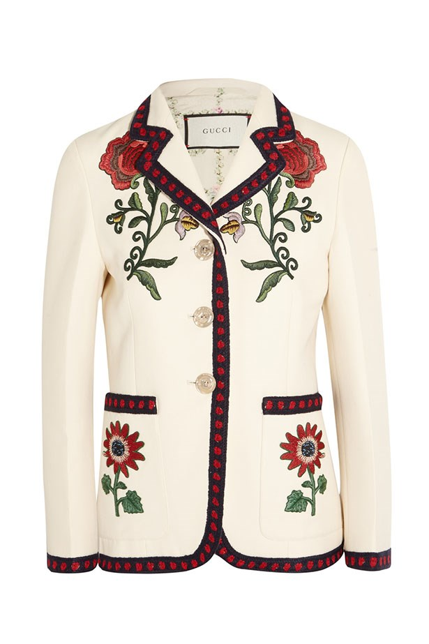 "<a href=""https://www.net-a-porter.com/au/en/product/682454/gucci/embroidered-silk--cotton-and-wool-blend-cady-blazer"">Blazer, $4290, Gucci at net-a-porter.com.</a>"