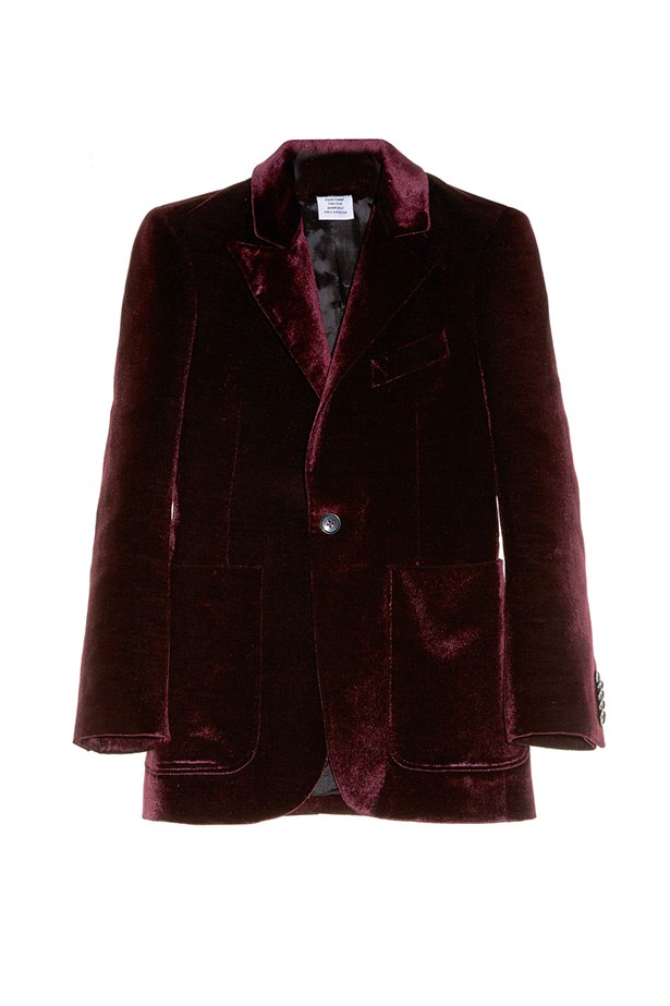 "<a href=""http://www.matchesfashion.com/products/Vetements-Patch-pocket-velvet-blazer-1065811"">Blazer, $3166, Vetements at matchesfashion.com.</a>"