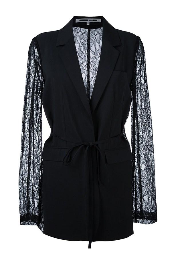 """<a href=""""https://www.farfetch.com/au/shopping/women/mcq-alexander-mcqueen-lace-sleeve-blazer-item-11568605.aspx?storeid=9446&from=listing&tglmdl=1&ffref=lp_pic_55_1_"""">Blazer, $771, McQ Alexander McQueen at farfetch.com.</a>"""
