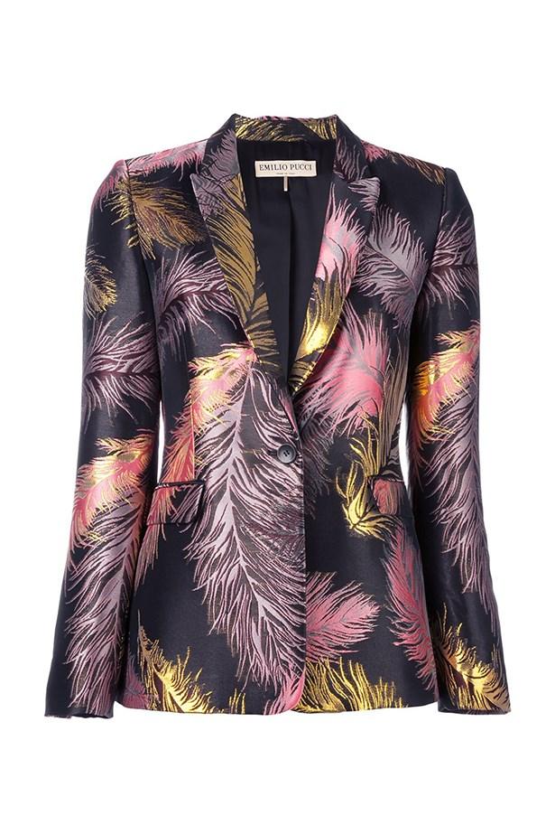 """<a href=""""https://www.farfetch.com/au/shopping/women/emilio-pucci--fantasia-blazer-item-11597883.aspx?storeid=9564&from=listing&tglmdl=1&ffref=lp_pic_370_6_"""">Blazer, $2560, Emilio Pucci at farfetch.com.</a>"""